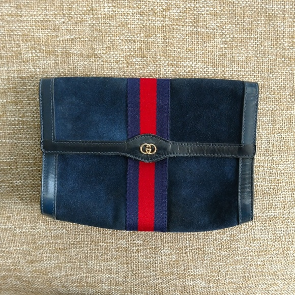 e0b096f6a57c Gucci Bags | Blue Suede Authentic Vintage Clutch Purse | Poshmark